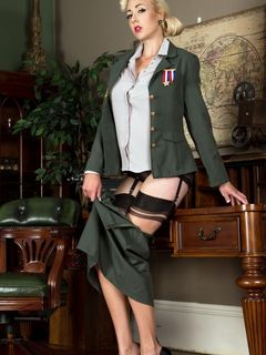 Sapphire Blue spreads in army uniform and nylons