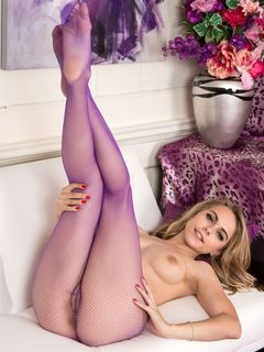 Chloe Toy shows her sexy ass in purple pantyhose