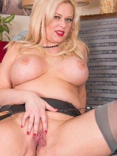 Busty Ann Kiray spreads her big ass in stockings