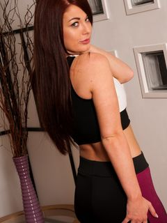 Amber Mae strips and teases in her sportswear