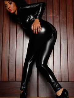Kinky Kayla Louise teasing in her latex catsuit