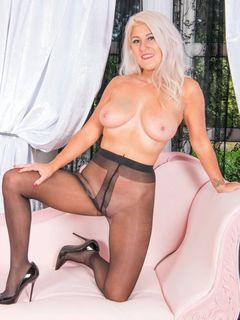 Lu Elissa in her black pantyhose strips and toys