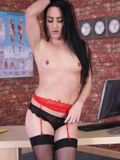 Beauty Chloe Lovette strips off in black stockings