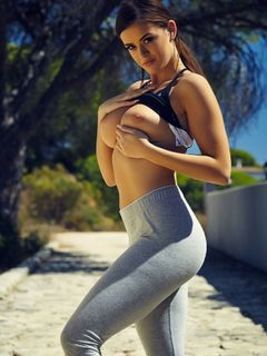 Brook Wright models and strips off her tight pants